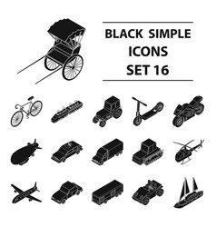 Transportation set icons in black style big vector