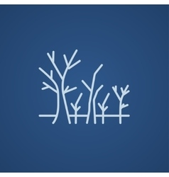 Tree with bare branches line icon vector