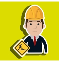 Man construction drill helmet vector