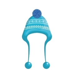 Winter hat clothes icon vector