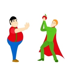 Superhero healthy eating athletic with an apple vector