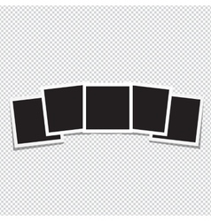 Set of retro photo frame on a transparent vector image