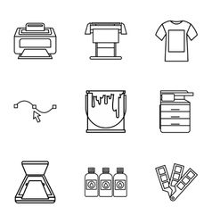 Printing in polygraphy icons set outline style vector