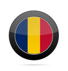 flag of chad shiny black round button vector image