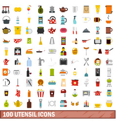 100 utensil icons set flat style vector image