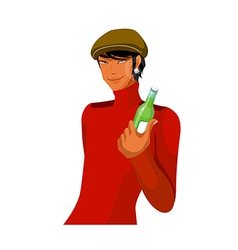 Portrait of man holding bottle vector