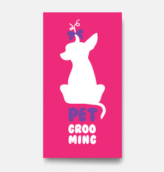 Business card template of pet grooming with little vector