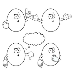 Black and white thinking egg set vector image
