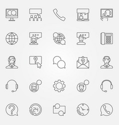 support service icons set customer support vector image