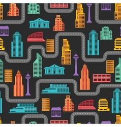 Cityscape seamless pattern with buildings vector