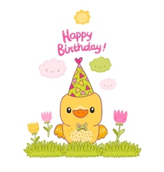 Happy birthday card with a canary bird and tulips vector