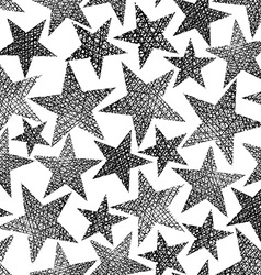 Stars seamless pattern repeating black and white vector