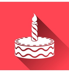 Birthday cake icon long shadows vector