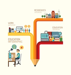 Business education concept infographic pencil vector