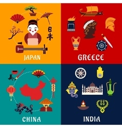 Japan china india and greece travel icons vector
