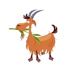 Goat chewing branch vector