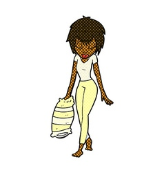 Comic cartoon woman going to bed vector