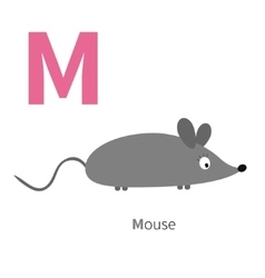 Letter m mouse zoo alphabet english abc with vector