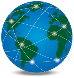 Globe with trading paths and points vector