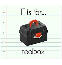 Flashcard letter t is for toolbox vector