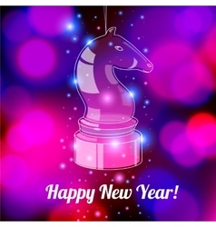 Happy new year card with glossy horse vector