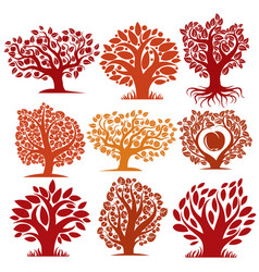 Art drawn autumn season trees with ripe apples vector