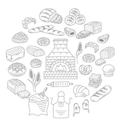 Bakery and pastry collection doodle vector