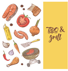 Barbecue and grill hand drawn background vector