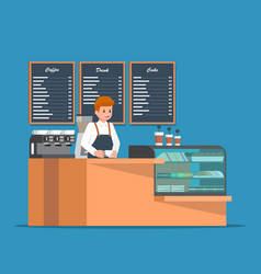 Barista behind counter bar of the coffee shop vector