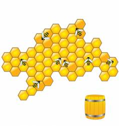 Bees on honeycombs vector