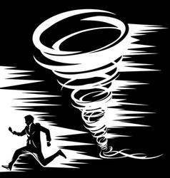 black-and-white drawing of a tornado from which a vector image