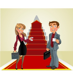 Businessman and businesswoman on the career ladder vector