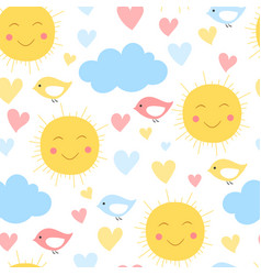 Cartoon sun cloud heart and bird background vector
