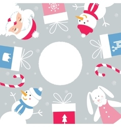 Christmas and Winter Holidays Round Banner Santa vector image
