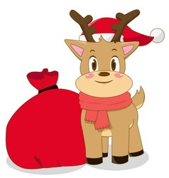 Christmas deer with santa bag vector image vector image