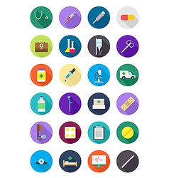 Color round medicine icons set vector image vector image