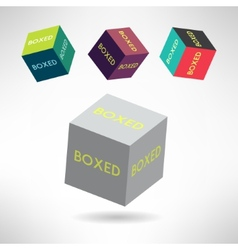 Colorful box icons set with boxed labels shipping vector