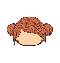 Colorful caricature faceless front view cute girl vector