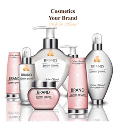 cream and lotion cosmetics collection with milk vector image