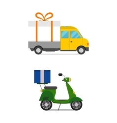 Delivery transport gift box truck and scooter vector