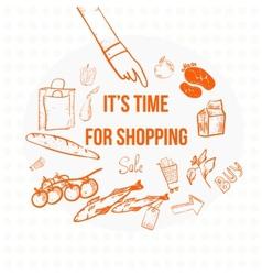 Doodle eco shopping banner eps10 vector