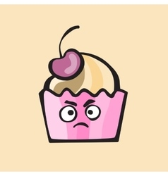 Evil cupcake or muffin vector image vector image