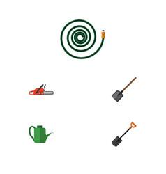Flat icon farm set of hosepipe spade hacksaw and vector