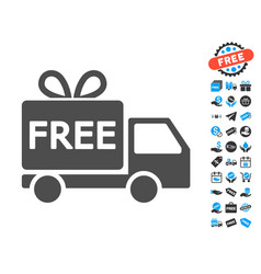 Free delivery flat icon with free bonus elements vector