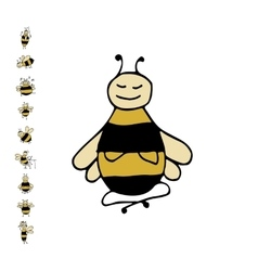 Funny bee yoga sketch for your design vector