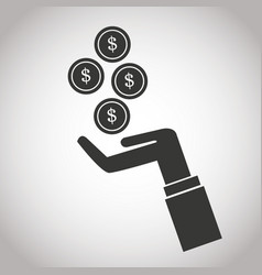 Hand with falling coins money dollar banking vector