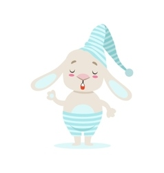 Little girly cute white pet bunny in stripy blue vector