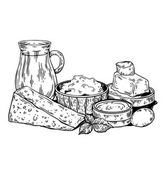 milk food products engraving vector image
