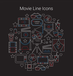 Movie line icons set circular shaped vector