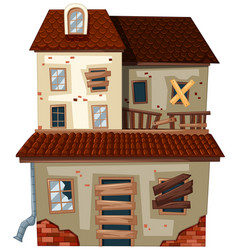 old house with red roof vector image